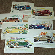 Set 7 Vintage Antique Car Prints From 1930's