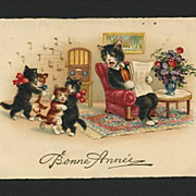 1934 Cute Cats Dancing To Music On Radio Postcard