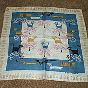 Cute Dachshunds & Cats Handkerchief by Pat Prichard