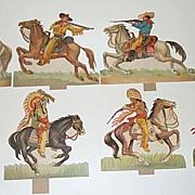 Eight Vintage Die-Cut Paper Cowboys & Indians
