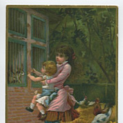 Large Embossed Victorian Card Children Rabbits Chickens