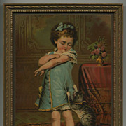 Cute Framed Chromolithograph Print ***Girl With Cat***
