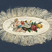 Victorian Fringe Edge Name Card Cupid Or Angel
