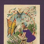 SALE PENDING Birthday Greetings Postcard Girl In Purple Silk Dress Butterflies