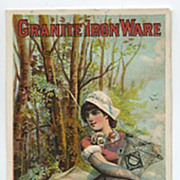 Granite Iron Ware Trade Card Milk Maid & Cow