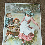 1896 Chromolithograph 3 Children Carrying Basket of Apples