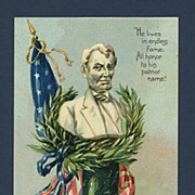 Embossed Patriotic Abraham Lincoln Tribute Tuck Postcard