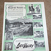 1946 Lost Valley Resort Bandera, TX Magazine Advertisement