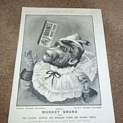 1895 Brook's Monkey Brand Soap Advertisement