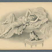 Charming Semi-Nude Lady With Cat by M. M. Vienne