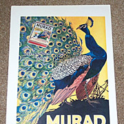 1914 Murad Cigarette Advertisement Lg Peacock