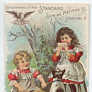 Standard Sewing Machine Trade Card Girls Dog