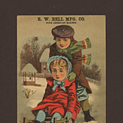 French Villa Soap Trade Card Children On Sled