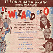 1939 The Wizard Of Oz Sheet Music ***If I Only Had A Brain***