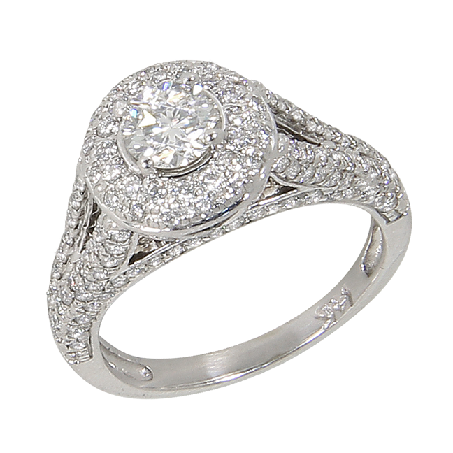 High End Estate 14kt 14 Kt White Gold Ct Diamond Solitaire Halo From Bac