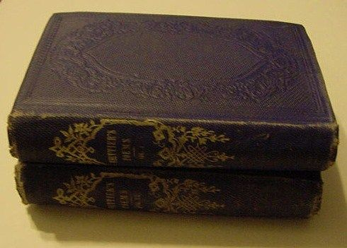 Antique 1867 2 Volume Set of John Greenleaf Whittier Complete Works Poetry Poem Books