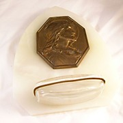 REDUCED Reduced! Lovely Marble French Holy Water Font - Jesus - vintage