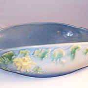 Lovely Roseville Art Pottery Blue Columbine 14 inch Bowl - nice!