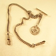 Vintage Watch Chain with Silver Masonic Fob - English