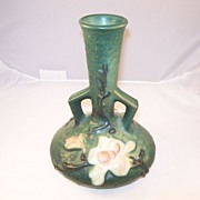 Roseville Art Pottery - Green Magnolia Bud Vase - 7 inches
