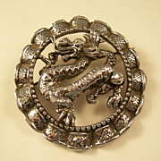 Vintage Pewter Look Circle Brooch with Dragon - Stunning!