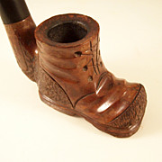 Fantastic Vintage Hand Carved Briar Figural Pipe - old Shoe or Boot