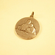 Charming Silverplate French Catholic First Communion Medal - dated 1903
