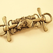 Interesting Vintage Sterling Silver Horse Equestrienne Brooch