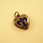 Vintage Sterling Silver Puffy Heart Charm - Enamel Fleur di Lis