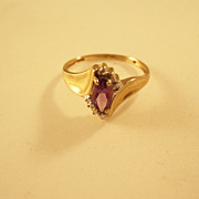 Pretty Vintage Amethyst Ring with Diamonds - 10kt gold