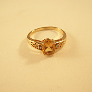 Pretty Vintage Citrine Ring with Diamond Accents - 10KT gold