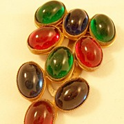 REDUCED Vintage Dress Clip with Luscious Colorful Glass Stones