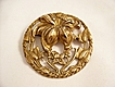 Lovely Art Nouveau Vintage Brass Brooch - floral motif
