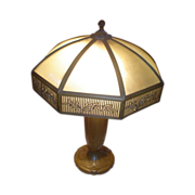 Large Bradley & Hubbard Slag Glass Lamp