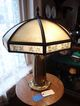 Ribbed Glass, Reverse Painted Bradley & Hubbard Slag Glass Lamp