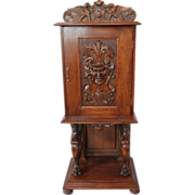Heavily Carved Quartersawn Oak Parlor Cabinet