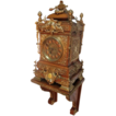 Large Extraordinary Carved Oak and Brass Mounted Bracket Clock by Dent with Matching Carved Shelf