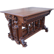 Magnificent Large and Ornately Carved Oak Center Table.