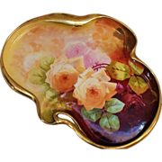 RARE Unusual Shaped Bronssillon Hand Painted Tray w/Roses