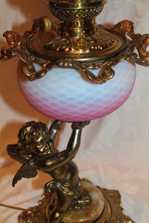 Wow Outstanding Figural Cherub Banquet Oil Lamp