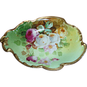 SALE Wonderful JPL DUVAL Limoges Hand Painted Dish with Roses