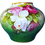 HUGE Antique William Guerin Limoges Vase with Roses