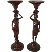 SALE Outstanding Pair of Walnut Figural  Pedestals  - Man and Woman