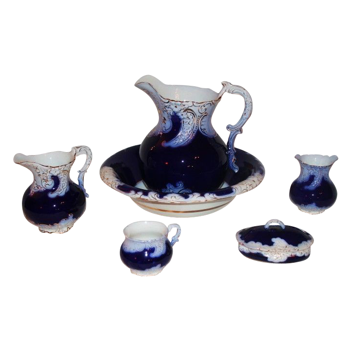C 1800 S Very Rare 8 Piece American La Belle Flow Blue
