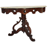 VERY RARE 1860's American Rococo Rosewood Victorian Marble Top Child's Table