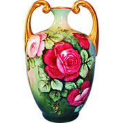 Outstanding JPL Limoges Muscle Vase with Roses