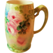 Hand Painted Dragon Handled Mug ~  Hand Painted Roses  ~ Superb Artistry Jean Pouyat JPL Circa 1890 � 1932