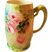 Hand Painted Dragon Handled Mug ~  Hand Painted Roses  ~ Superb Artistry Jean Pouyat JPL Circa