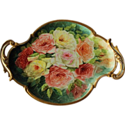 Beautiful HAND PAINTED Masterpiece~ LARGE French Limoges Stunning Still Life  Painting on Porc