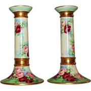 RARE Pair of Wonderful Limoges Hand Painted Candleholders